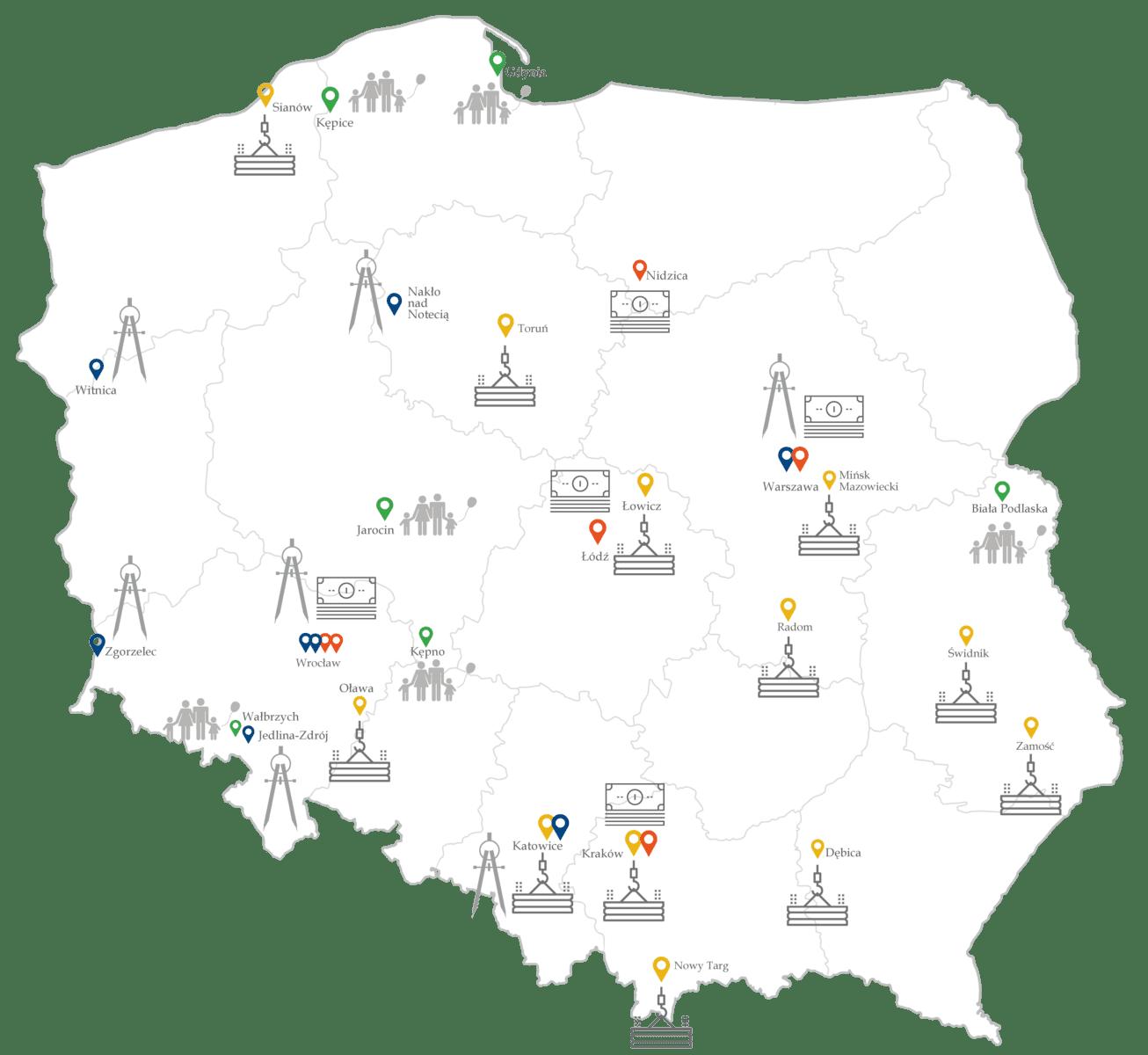 mapa Mieszkanie Plus inwestycje